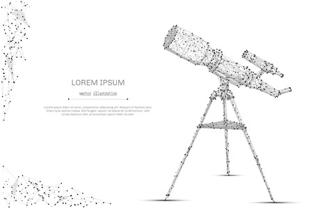 Abstract mash line and point telescope on white background with an inscription. Starry sky or space, consisting of stars and the universe. Vector cosmos or space illustration