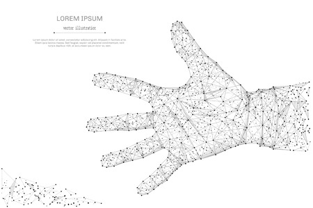 Abstrakte Mash-Linie und offene Handfläche auf weißem Hintergrund mit einer Inschrift. Sternenhimmel oder Raum, bestehend aus Sternen und dem Universum. Vector Hand-up-Abbildung Standard-Bild - 83491536