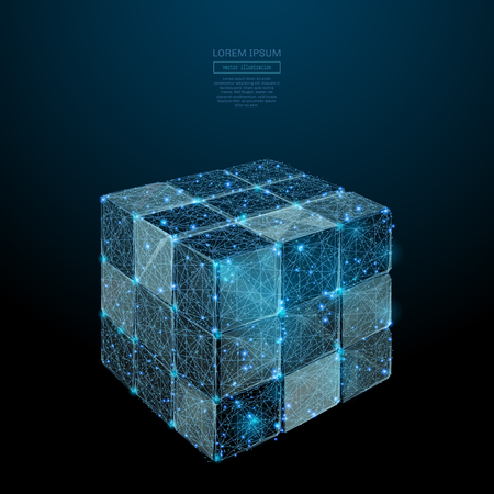 Abstract image of a Disassembled rubiks cube in the form of a starry sky or space, consisting of points, lines, and shapes in the form of planets, stars and the universe. Vector wireframe concept.