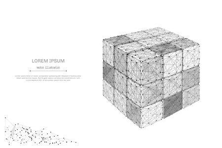 추상 매시 라인 및 포인트 비문와 흰색 배경에 분해 된 rubiks 큐브. 별이 빛나는 하늘 또는 별, 우주로 구성된 공간. 벡터 비즈니스 일러스트 레이션 일러스트