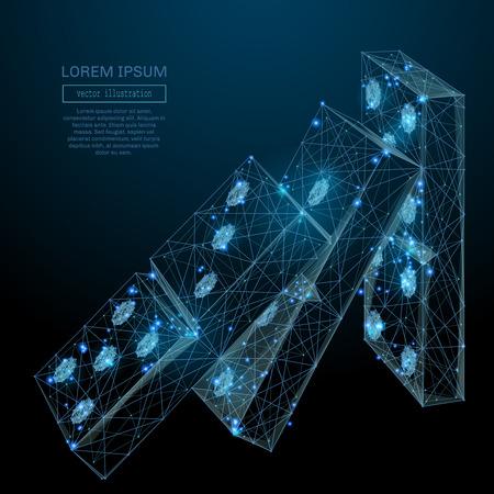 Immagine astratta di un effetto Domino sotto forma di cielo stellato o spazio, costituito da punti, linee e forme in forma di pianeti, stelle e universo. Concetto di business wireframe vettoriale.