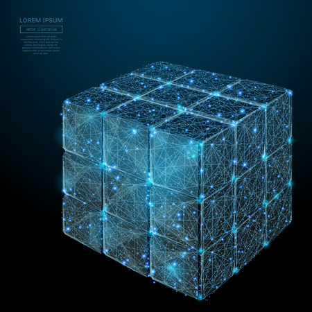 Abstract image of a Collected rubiks cube in the form of a starry sky or space, lines, and shapes in the form of planets, stars and the universe. Vector business wireframe concept. Vettoriali