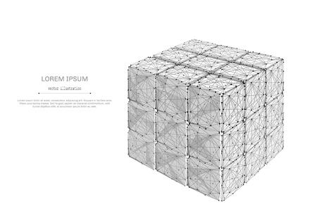 碑文と白い背景の上の抽象的なマッシュ ラインとポイント収集 rubiks キューブ。星空や宇宙、星や宇宙から成る。ベクトル ビジネス イラスト