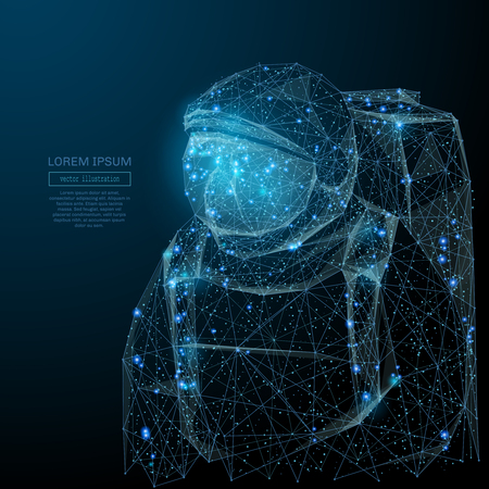 Abstract image of an astronaut in the form of a starry sky or space, consisting of points, lines, and shapes in the form of planets, stars and the universe. Vector space wireframe concept.
