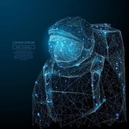 Imagen abstracta de un astronauta en la forma de un cielo estrellado o espacio, que consiste en puntos, líneas y formas en forma de planetas, estrellas y el universo. Concepto de estructura metálica de espacio vectorial. Ilustración de vector