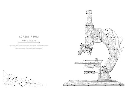 Abstract mash line and point microscope on background with an inscription. Starry sky or space, consisting of stars and the universe. Vector education and science illustration