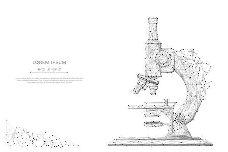 Abstracte brijlijn en puntmicroscoop op achtergrond met een inschrijving. Sterrenhemel of ruimte, bestaande uit sterren en het universum. Vectoronderwijs en wetenschapsillustratie Vector Illustratie