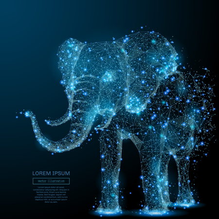 Léphant isolé de wireframe low poly sur fond sombre. Image polygonale de vecteur sous la forme d'un ciel ou d'un espace étoilé, composé de points, de lignes et de formes sous la forme d'étoiles et de l'univers Banque d'images - 85127825