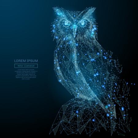 Búho aislado de poli wireframe bajo sobre fondo oscuro. Aves de rapiña salvajes. Vector de imagen poligonal en forma de un cielo estrellado o el espacio, que consta de puntos, líneas y formas en forma de estrellas Ilustración de vector