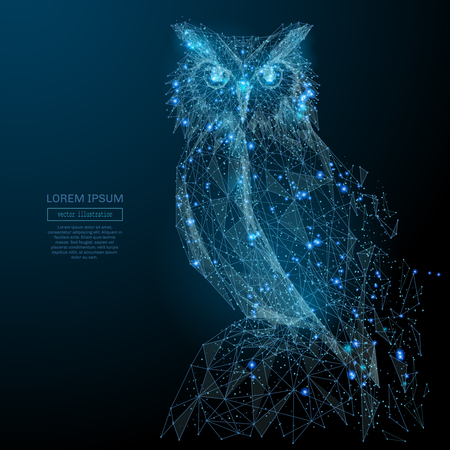 Owl isolated from low poly wireframe on dark background. Wild bird of prey. Vector polygonal image in the form of a starry sky or space, consisting of points, lines, and shapes in the form of stars 版權商用圖片 - 85127826
