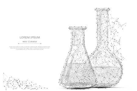 Test tubes isolated from low poly wireframe on white background. Science and analyses. Vector abstract polygonal image mash line and point hands collect puzzle with an inscription. Digital graphics