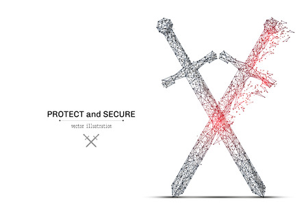 Abstract polygonal crossed swords isolated on white background.