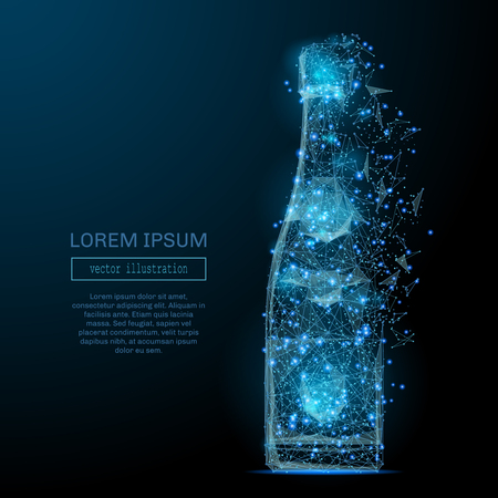 Abstract image of a bottle of champagne low poly in the form of a starry sky or space, consisting of points, lines, and shapes in the form of planets, stars and the universe. Vector wireframe concept.