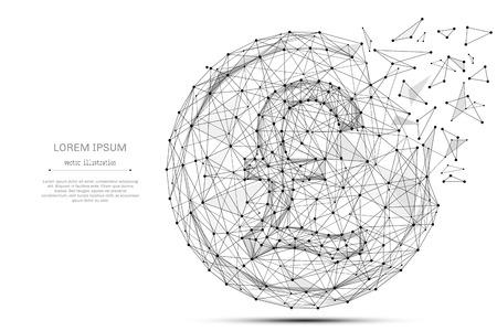 Moneda de libra británica del esquema negro con la línea del polígono en fondo abstracto. Espacio poligonal bajo poli con puntos y líneas de conexión. Estructura de conexión Vector de fondo financiero. Signo de dinero Foto de archivo - 86098753