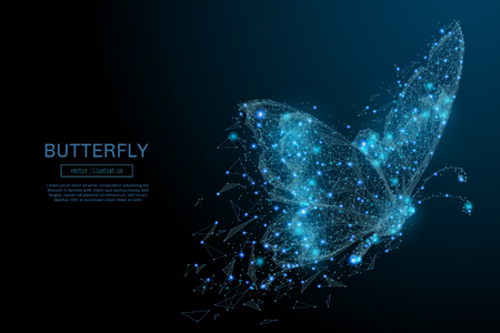 Butterfly composed of polygon. Low poly vector illustration of a starry sky or Comos. The digital flyer consists of lines, dots and shapes. Wireframe technology light connection structure. Ilustracja