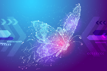 Butterfly in the form of a starry sky or space, consisting of points, lines, and shapes in the form of planets, stars and the universe. Insect from polygon vector wireframe concept. Blue purple Imagens - 86639315