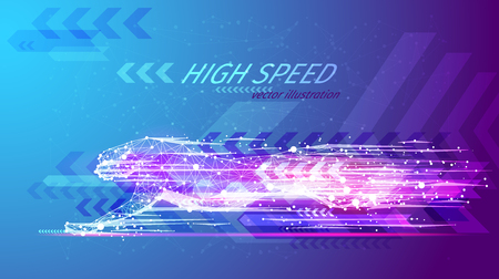 High speed concept. Cheetah in motion in the form of a starry sky or space, consisting of point, line.