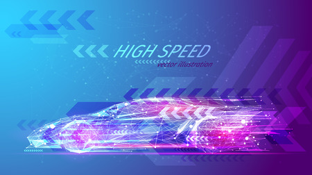 High speed concept. Sport car in the form of a starry sky or space, consisting of points, lines, and shapes in the form of planets, stars and the universe. Fast vector wireframe concept. Blue purple