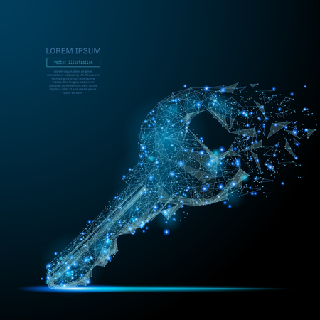 Lock key isolated from low poly wire frame on dark background. Data storage and protection vector polygonal image in the form of a starry sky or space, consisting of points, lines, and shapes. Vettoriali