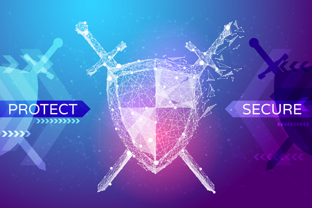 Shield and swords in the form of a starry sky or space, consisting of points, lines, and shapes in the form of planets, stars and the universe. Protect and secure vector wireframe concept. Blue purple