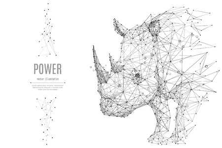 Abstract mash line and point rhinoceros origami on white background with an inscription. Starry sky or space, consisting of stars and the universe. Vector animal rhino illustration