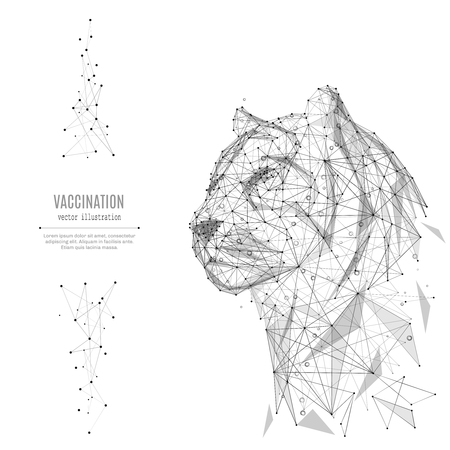 Abstract mash line and point tiger origami on white background with an inscription. Starry sky or space, consisting of stars and the universe. Vector animal wild illustration 일러스트