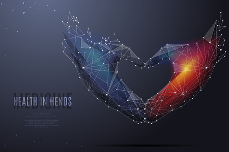 Vector isolated Love shape hands origami. Low poly wireframe and points. Polygonal 3D white love gesture on dark background. Geometry triangle. Abstract hands mash line origami.