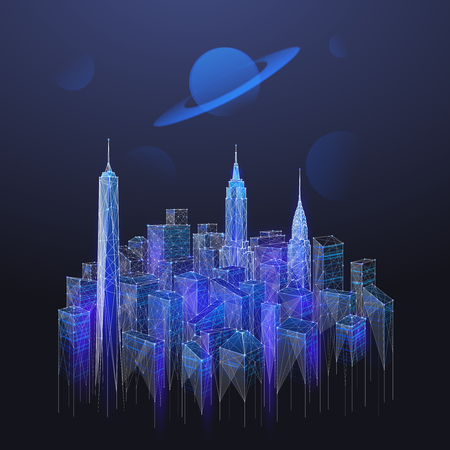 Abstract image of blue landscape of the Manhattan consisting of points, lines, and shapes in the form of planets, stars and the universe. Vector New York with planet on night sky wireframe concept.