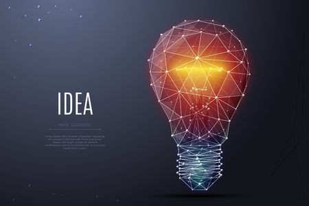 Vector Incandescent lamp with bright light. Low poly wireframe and points.