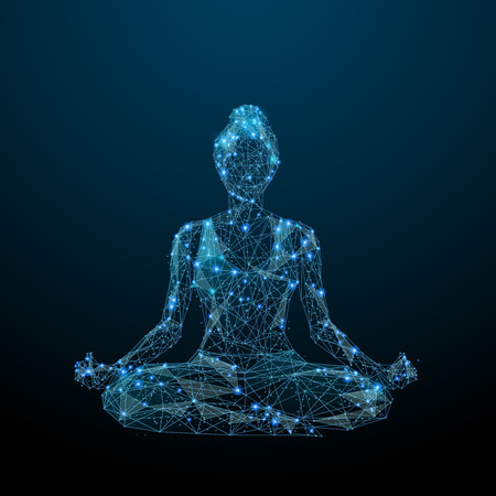 Abstract image of woman yogi sits in a lotus pose in the form of a starry sky or space, consisting of points, lines, and shapes in the form of planets, stars and the universe. Vector yoga. RGB