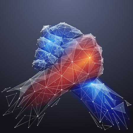 Vector geïsoleerde broederlijke handdruk. Laag poly draadframe en punten. Veelhoekige 3D-witte overeenkomst concept op donkere achtergrond. Bedrijfsconcept met geometrie driehoek. Abstracte deal puree lijn origami Stockfoto