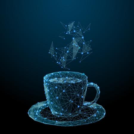 Taza de café. Taza de té. Imagen poligonal vectorial en forma de cielo estrellado o espacio, que consta de puntos, líneas y formas en forma de estrellas con formas destructivas.