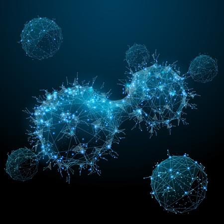 Krebszellen. Onkologisches Low-Poly-Drahtmodell. Polygonales Vektorbild in Form eines Sternenhimmels oder Raumes, bestehend aus Punkten, Linien und Formen in Form von Sternen mit Zerstörungsformen.