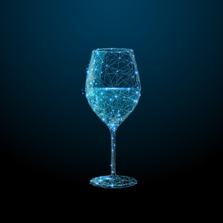 Abstract image of a glass of wine in the form of a starry sky or space, consisting of points, lines, and shapes in the form of planets, stars and the universe. Alcohol vector wireframe