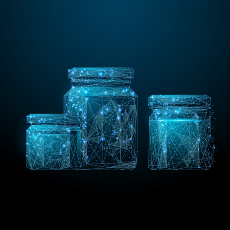 Jars of pickled veg low poly wireframe. Vector polygonal image in the form of a starry sky or space, consisting of points, lines, and shapes in the form of stars with destruct shapes.