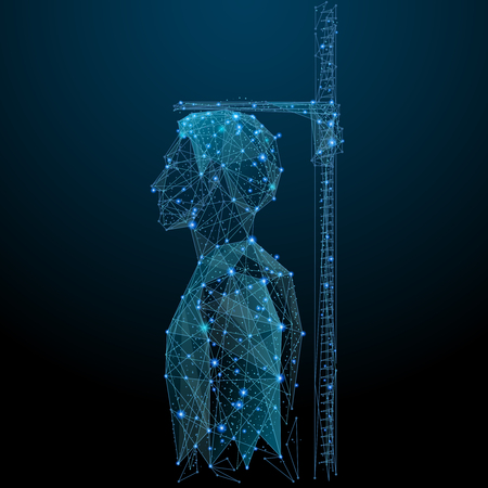 Measuring height low poly wireframe. Male on Vector polygonal image in the form of a starry sky or space, consisting of points, lines, and shapes in the form of stars with destruct shapes.