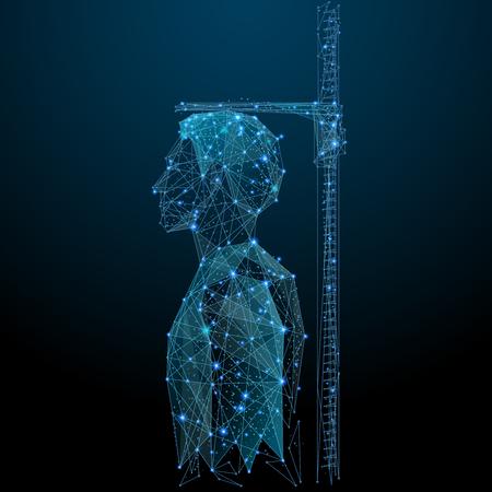 Medición de estructura metálica de baja altura. Hombre en Imagen poligonal vectorial en forma de cielo estrellado o espacio, que consta de puntos, líneas y formas en forma de estrellas con formas destructivas.