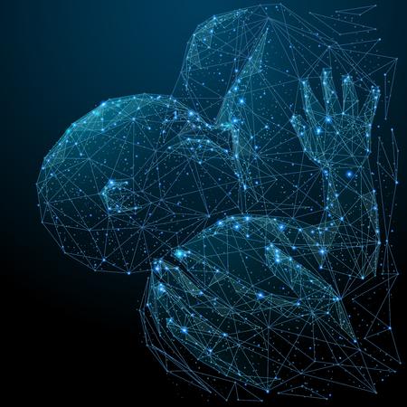 Bambino e madre. Wireframe basso poli per l'allattamento al seno. Immagine poligonale vettoriale sotto forma di cielo o spazio stellato, composta da punti, linee e forme sotto forma di stelle con forme di distruzione. Vettoriali