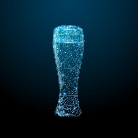 Immagine astratta di un bicchiere di birra sotto forma di cielo stellato o spazio, costituito da punti, linee e forme sotto forma di pianeti, stelle e universo. Wireframe vettoriale di alcol Alcohol