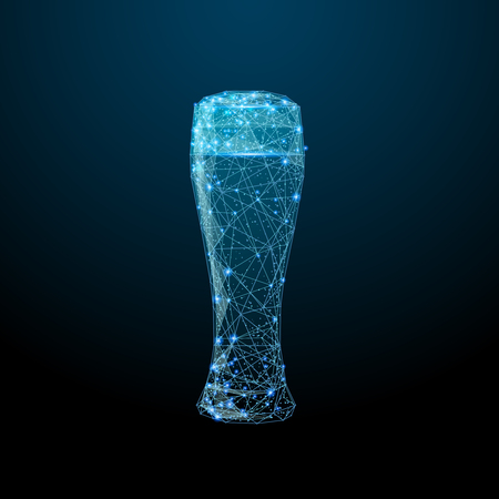 Abstract image of a glass of beer in the form of a starry sky or space, consisting of points, lines, and shapes in the form of planets, stars and the universe. Alcohol vector wireframe