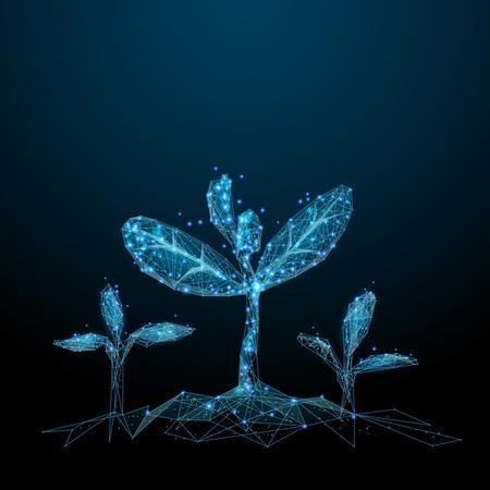 Planta de semillero. Azul poli baja. Ilustración de salud abstracta poligonal. En forma de cielo estrellado o espacio. Imagen vectorial en modo Color RGB.