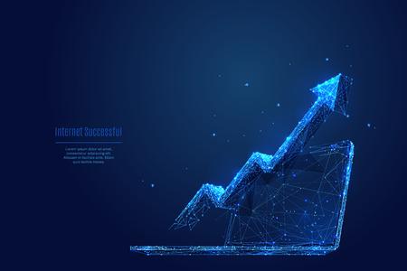 Freccia di vettore su sul computer portatile. Immagine astratta della crescita finanziaria sotto forma di cielo stellato o spazio, costituita da punti, linee e forme sotto forma di pianeti, stelle e universo. Colore RGB