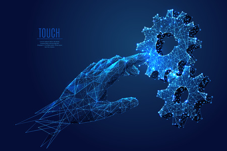 Human Arm touch gears composed of polygons. Low poly vector illustration of a starry sky style. gearing consists of lines, dots and shapes. Internet or digital or devices and computer symbol Illustration