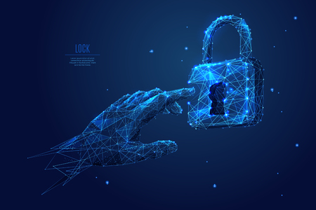 Human arm or hand or palm is touching lock symbol. digital image of email or internet symbol. Low poly blue. Polygonal abstract technology  illustration. Digital vector illustration as a starry sky. Illustration