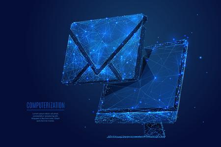 Symbole d'e-mail sur l'écran du moniteur PC Low poly wireframe Vecteurs