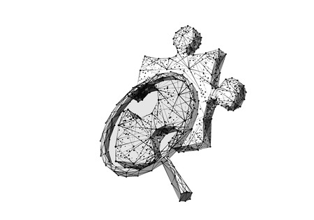 Puzzle piece and magnifying isolated from low poly wireframe on white