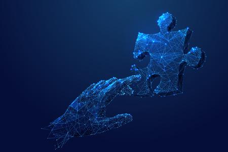 Prozesssteuerung. Blauer isolierter männlicher rührender Arm und Puzzle.