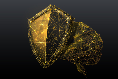 Shield and human brain. Low poly abstract wireframe concept.