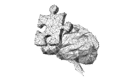 Puzzle piece on brain isolated from low poly wireframe on white