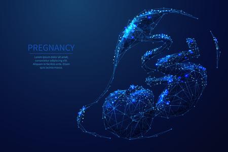Ilustración de estructura metálica de polietileno baja de embarazo. Bebé modelo 3d. Etapa del embarazo. Desarrollo fetal y prenatal. Polígono bajo del espacio poligonal con puntos conectados y líneas poligonales. Bebé de malla de alambre de vector
